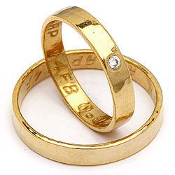 Forlovelsesringe i guld fra Randers Sølv