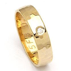 Forlovelsesring guld med hamret overflade