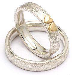Forlovelsesringe i sølv med guld